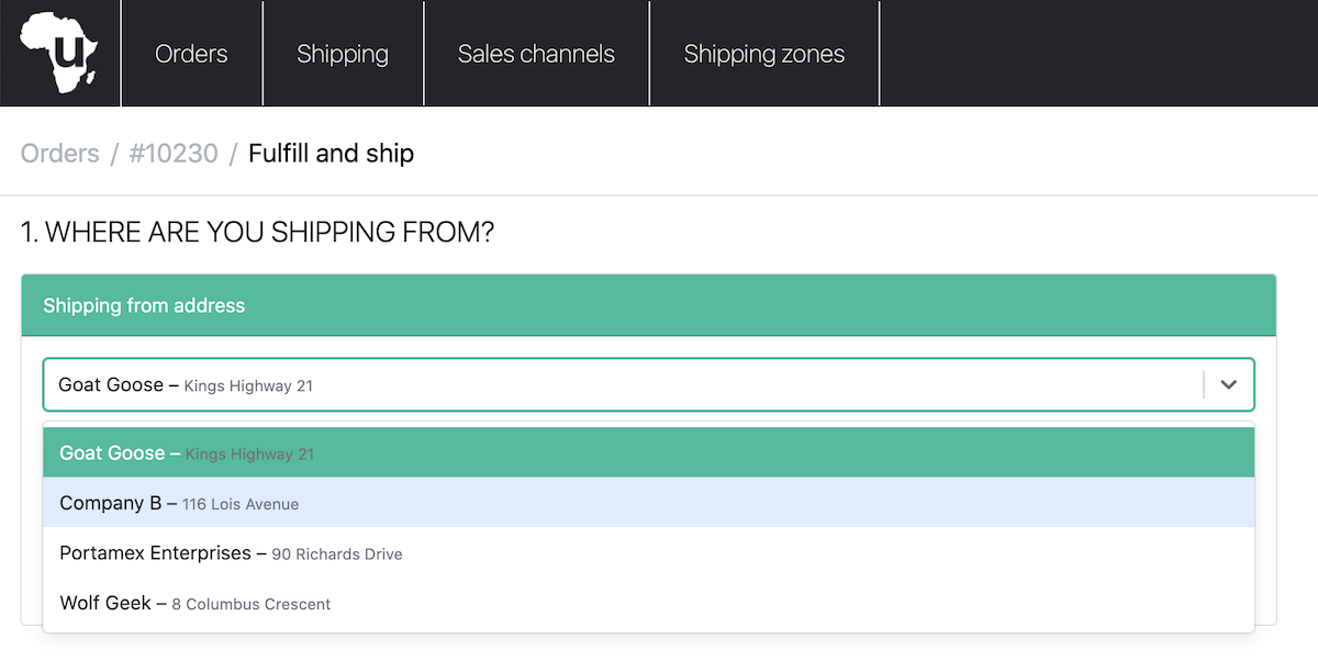 screenshot of the uAfrica platform and the sender addresses